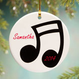 Ornaments - Personalized Music Note Porcelain Ornament