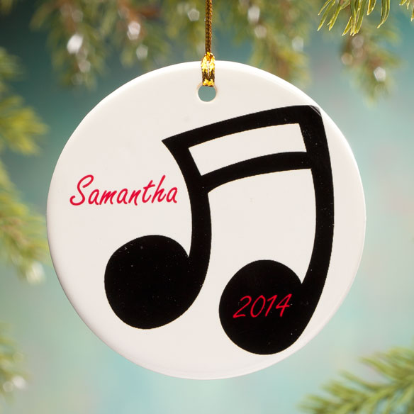 Personalized Music Note Porcelain Ornament