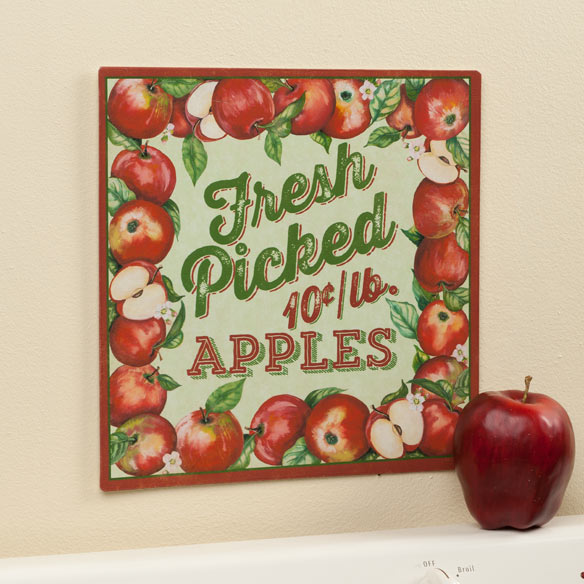 12 x 12 Fresh Picked Apples Metal Wall Plaque