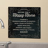 Home Décor - 12 x 12 Recipe For  A Happy Home Metal Wall Plaque