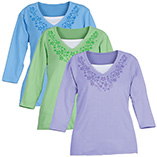 View All Sweatshirts & T-Shirts - 3/4 Sleeve V-neck T-Shirt w/Pattern