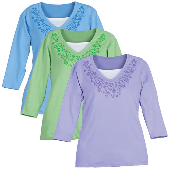 Unique's Shop 3/4 Sleeve V-neck T-Shirt w/Pattern-LG-LILAC at Sears.com