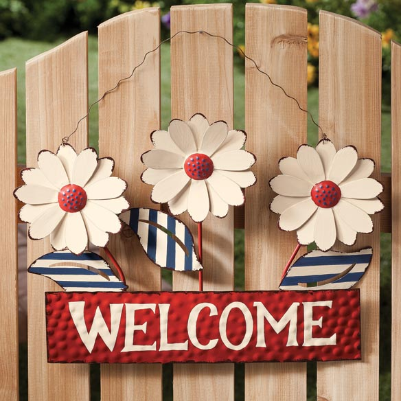 Welcome Flowers Metal Hanger