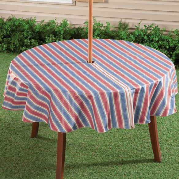 Patriotic Striped Zippered Table Cover