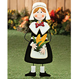 Thanksgiving - Pilgrim Girl Metal Yard Stake