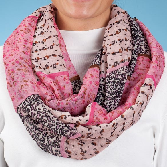 Pink Multi Print Infinity Scarf