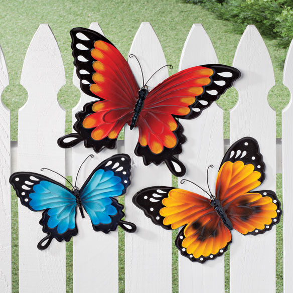 Metal butterflies set of 3 wall art d cor miles kimball for Outdoor butterfly ornaments