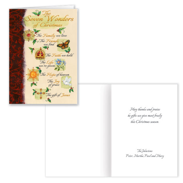 Personalized The Seven Wonders of Christmas Card Set of 20
