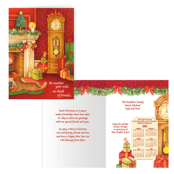 Calendar Gift Christmas Card Set of 20