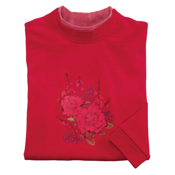 Red Tonal Floral Bouquet Sweatshirt