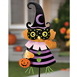 Halloween - Owl Witch Metal Lawn Stake