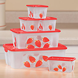 Kitchen - Stawberry Food Storage Containers, Set of 6