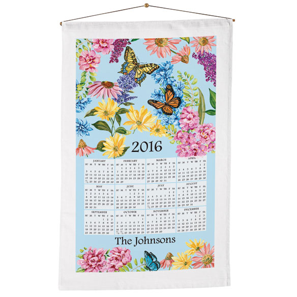 Personalized Butterfly Garden Calendar Towel - View 1