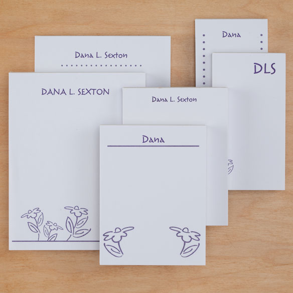 Personalized Flower Notepad Refill, Set of 6