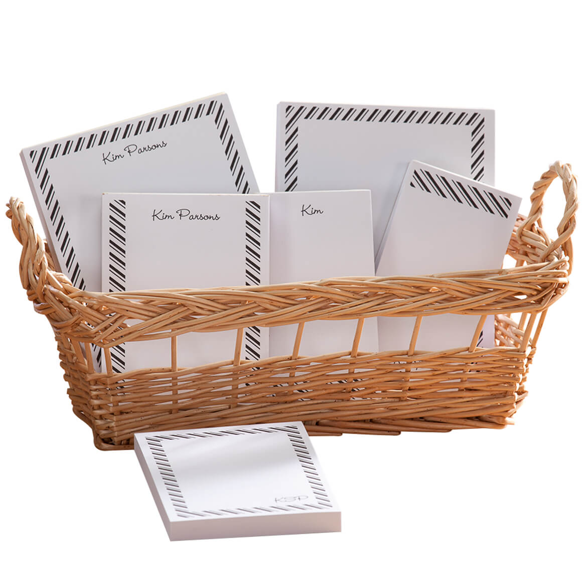 Personalized Diagonal Stripes Basketful of Notepads-349459