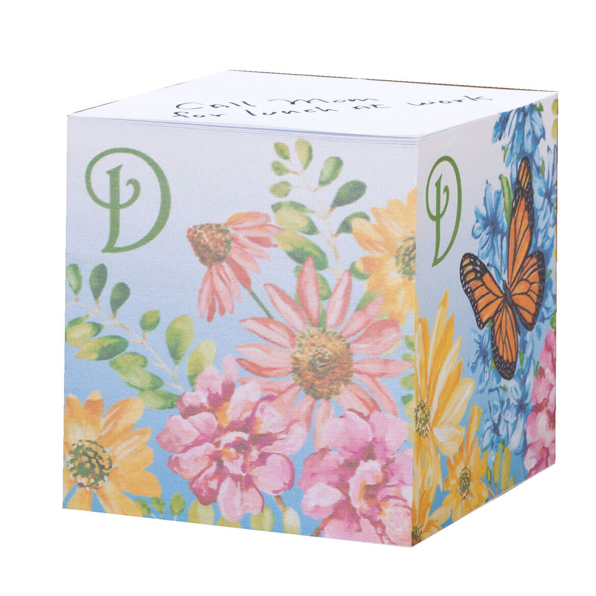 Personalized Floral Butterfly Self Stick Note Cube