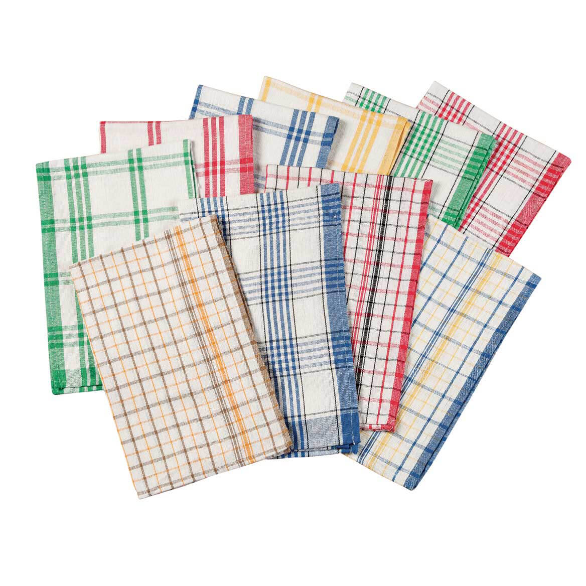 Plaid Kitchen Towels, Set of 10