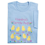 Personalized Favorite Peeps T-Shirt, Small, Blue/Yellow/Pink