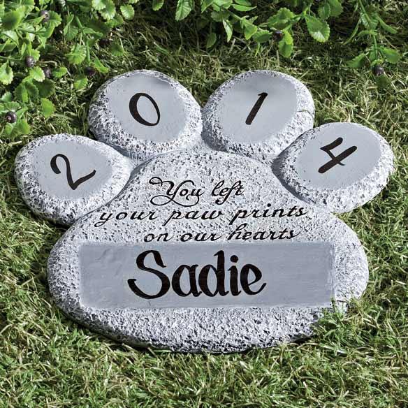 Personalized paw print memorial stone memory stones miles kimball