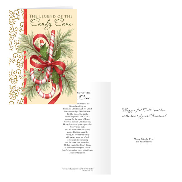 The Legend of the Candy Cane Personalized Card Set of 20