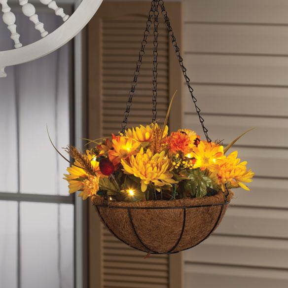 Led Hanging Flower Baskets : Quot lighted mum hanging basket flower miles kimball