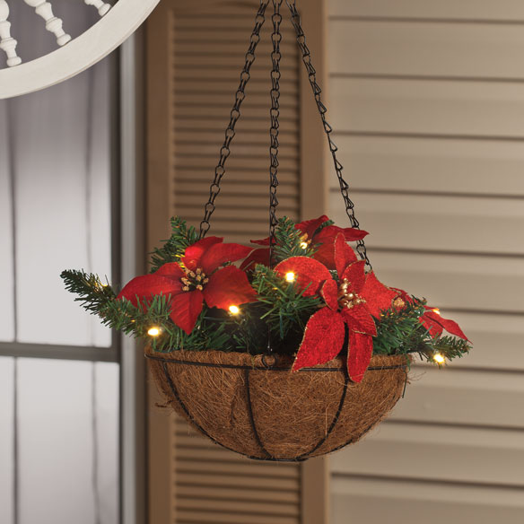 Hanging Flower Baskets With Lights : Quot lighted poinsettia hanging basket flower