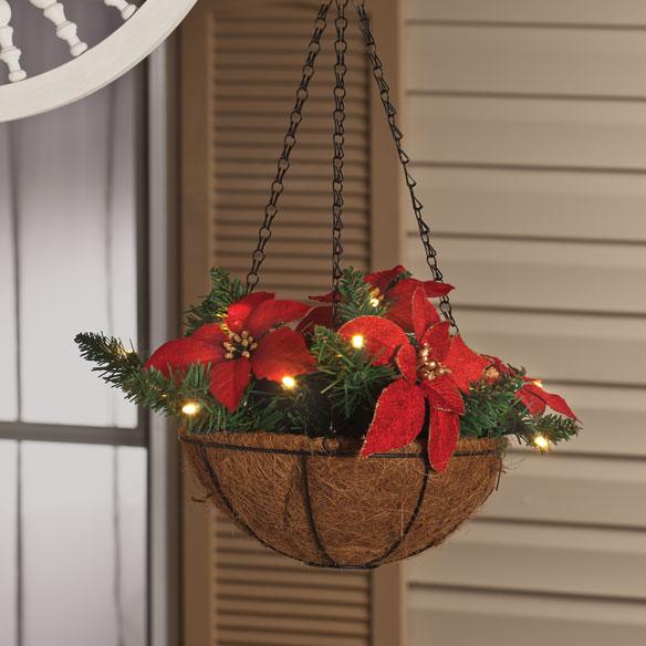 Led Hanging Flower Baskets : Quot lighted poinsettia hanging basket flower