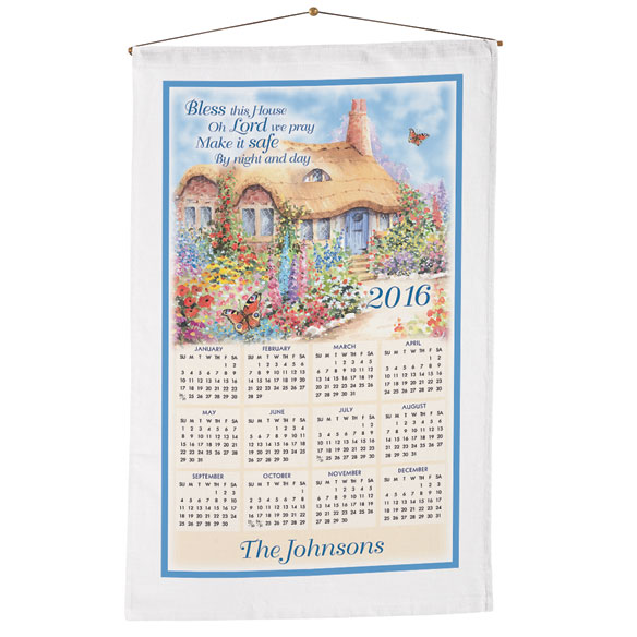 Bless This House Oh Lord Personalized Calendar Towel