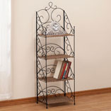 Four Tier Wicker & Metal Shelves by OakRidge Accents XL, Black/Brown