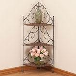 3-Tier Wicker & Metal Corner Shelf, Black/Brown