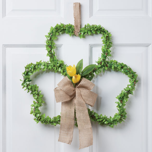 Shamrock Grapevine Wreath with Flowers