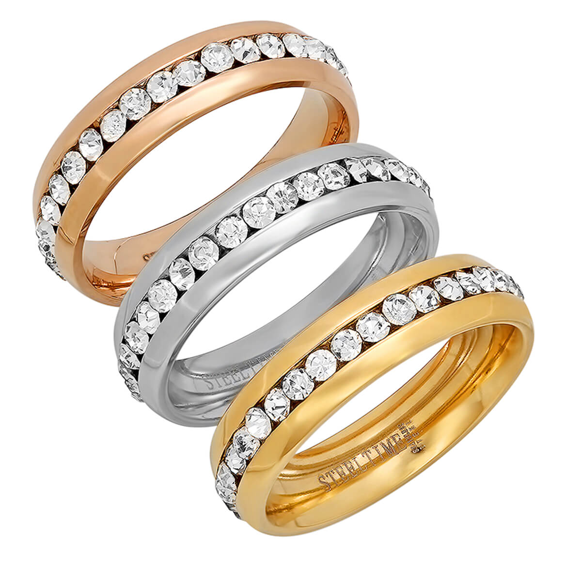 CZ Eternity Band Rings Set of 3          VR
