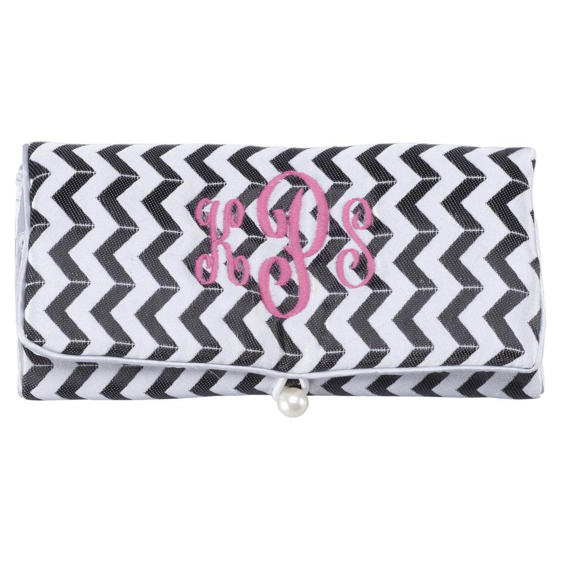 Personalized Travel Chevron Jewelry Roll