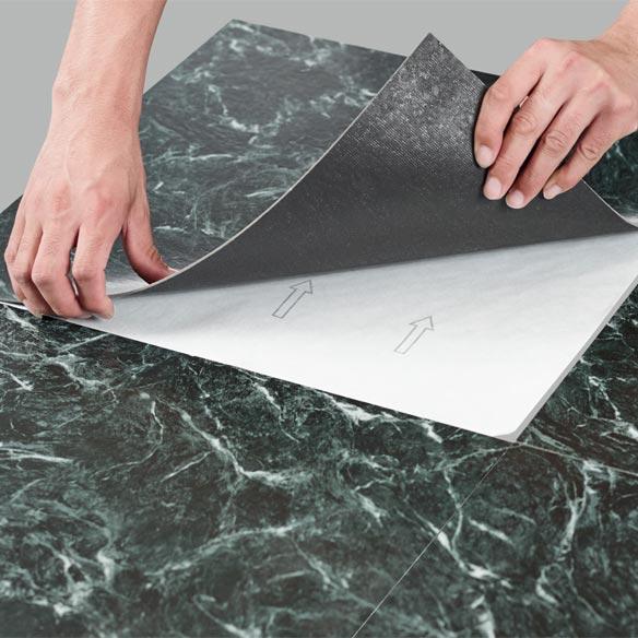 Self Stick Green Marble Vinyl Tiles Set Of 10 Miles Kimball