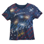 America Fireworks T-Shirt, 2XL, Blue/White/Red