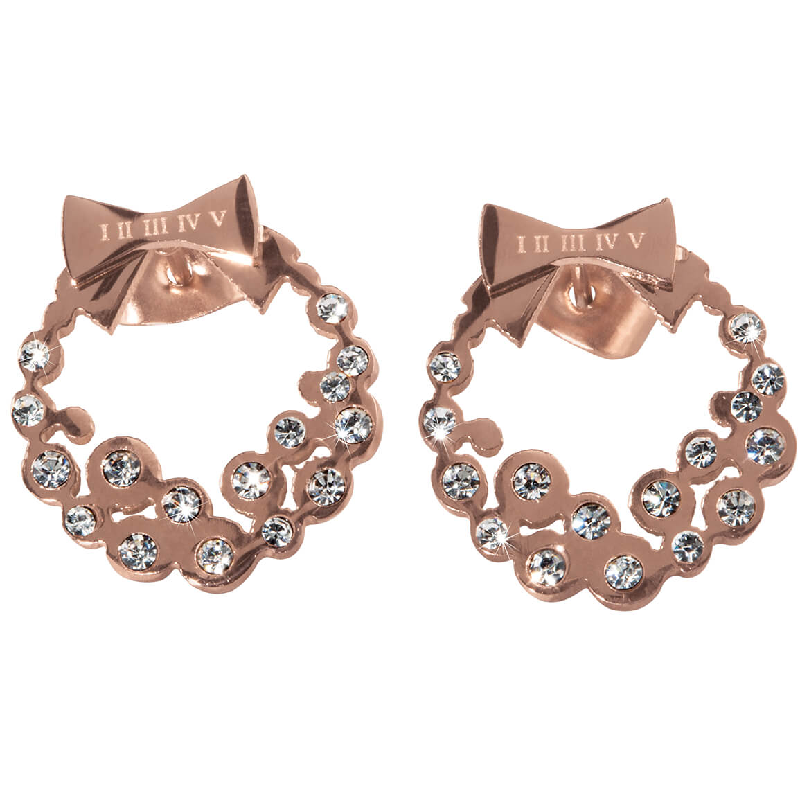 Diamond Look Holiday Wreath Earrings
