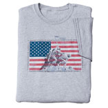 American Heroes T-Shirt, Medium, Gray/Red/Blue