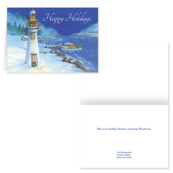 Personalized Wonderous Harbor Christmas Card Set of 20