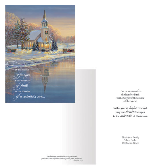 Personalized Winters Eve Christmas Card Set of 20