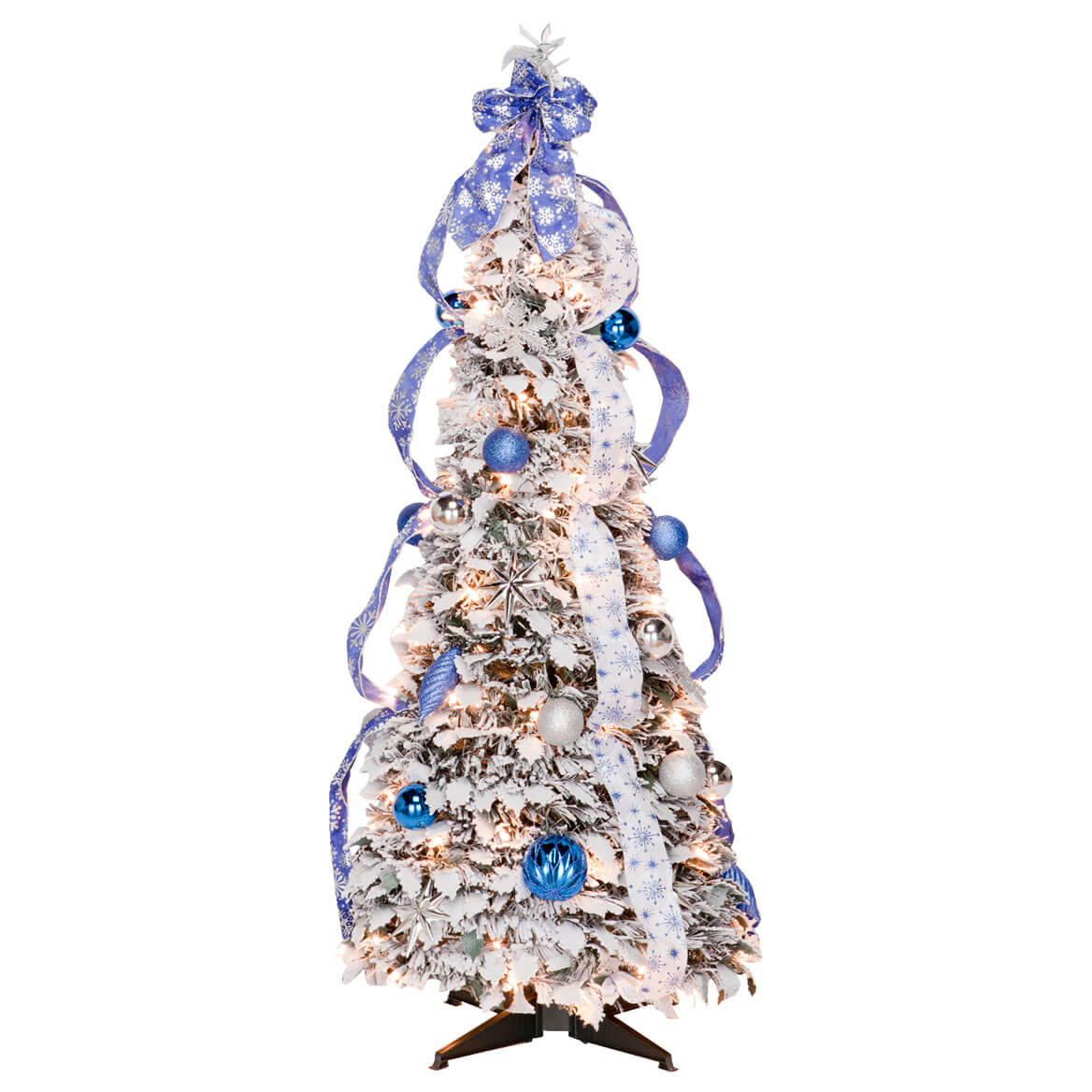 4 foot fully decorated flocked pull up tree by northwoods - Pull Up Fully Decorated Christmas Tree