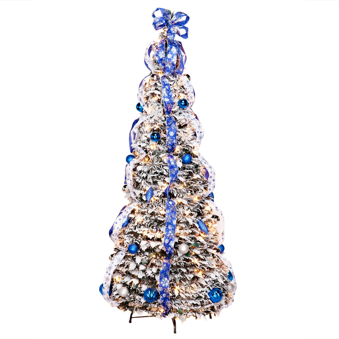 Flocked Pull-Up Fully Decorated Christmas Tree - 6 ft ...