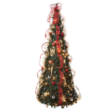 6 Foot Fully Decorated Red U0026 Gold Pull Up Tree By Northwoods™