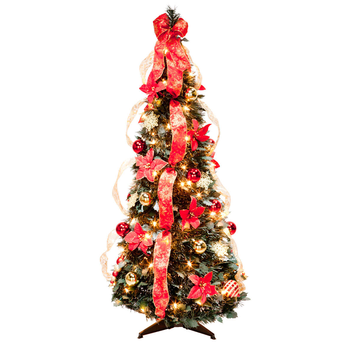 4 ft pull up fully decorated prelit poinsettia tree by northwoods - Pull Up Christmas Trees Decorated