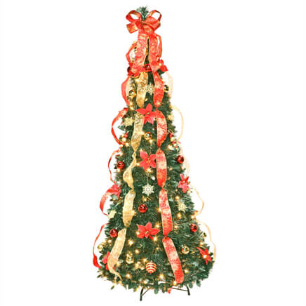 Pull Up Fully Decorated Prelit Poinsettia Tree - Miles Kimball