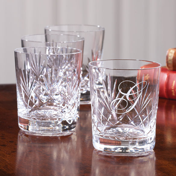 Personalized DOF Set of 4 Crystal Glasses