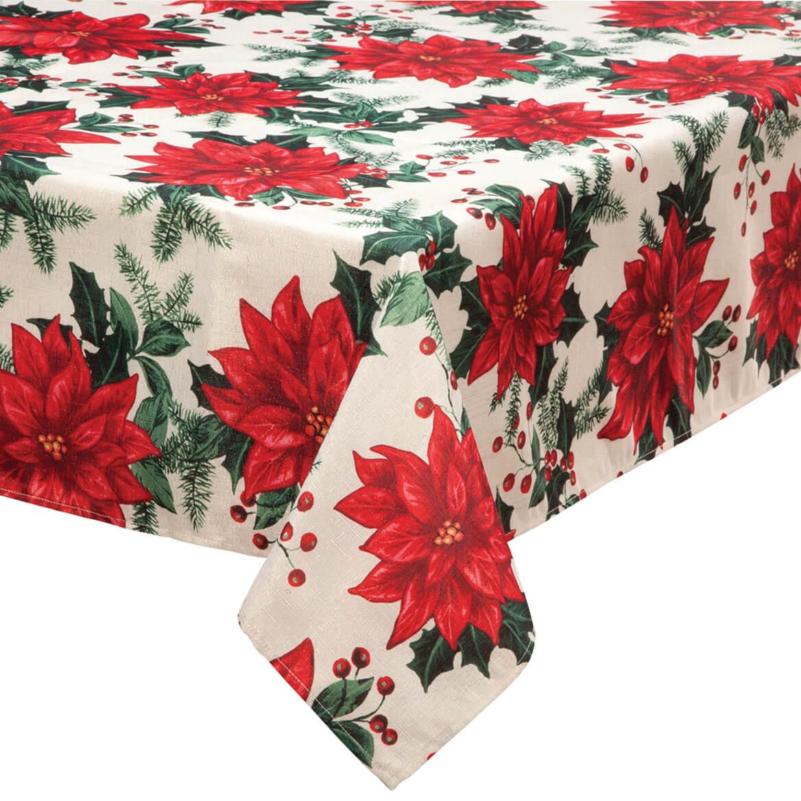 Poinsettia Metallic Fabric Tablecloth