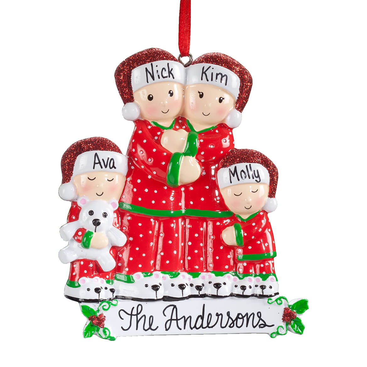 personalized family in pajamas ornament