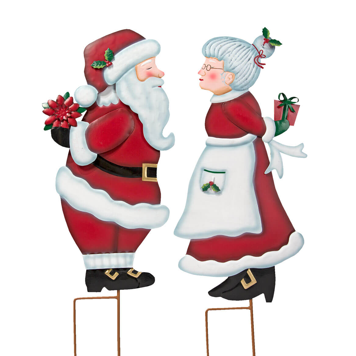 Kissing Santa Mrs Claus Metal Stakes By Maple Lane CreationsTM Set Of 2