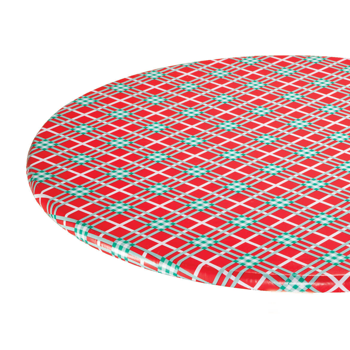 Winter Plaid Elasticized Vinyl Table Cover
