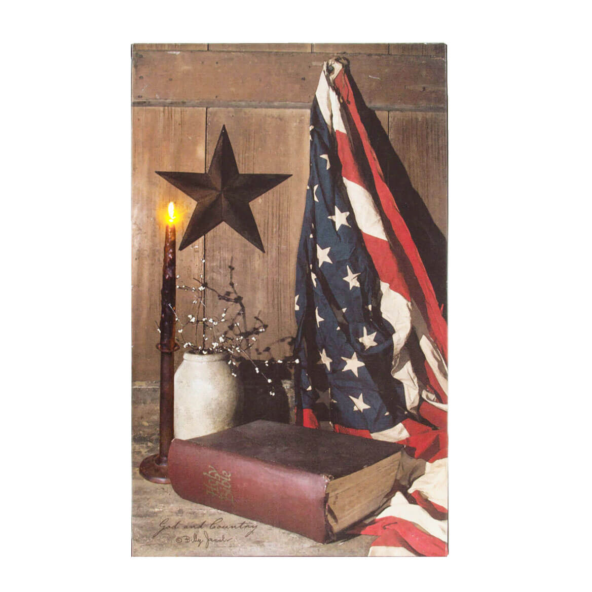 Lighted God and Country Canvas